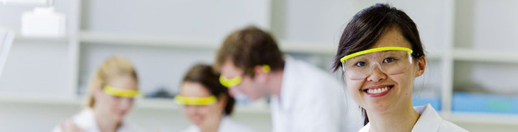 Female student in chemistry laboratory